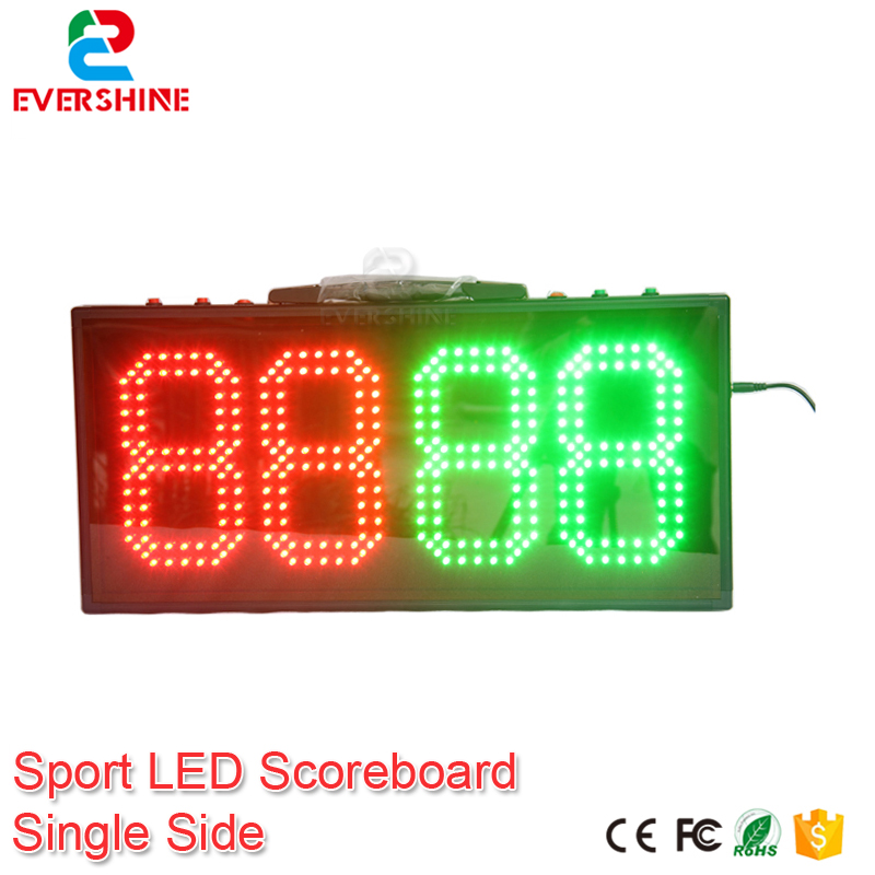 Portable Led Electronic Sports Scoreboard 8 Inch 4 Digits Red Green Color Dispaly Soccer  Substitution Display