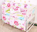 Promotion! 6PCS 100% Cotton Curtain Crib Bumper Baby Bedding Sets For Baby kit berco baby ,include:(bumper+sheet+pillow cover)