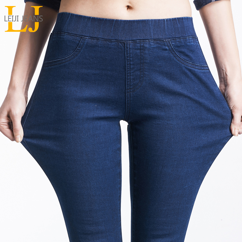LEIJIJEANS 2019 Spring And Summer Plus Size Mid Elastic Waist Stretch Ankle length mom Jeans for Women Skinny Pants Capris Jeans