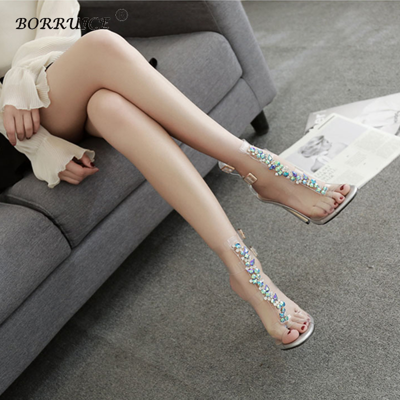 2018 Jelly Sandals Women Shoes Pumps Rhinestone Transparent PVC high-heeled sandals women's high heel ladies Wedding shoes