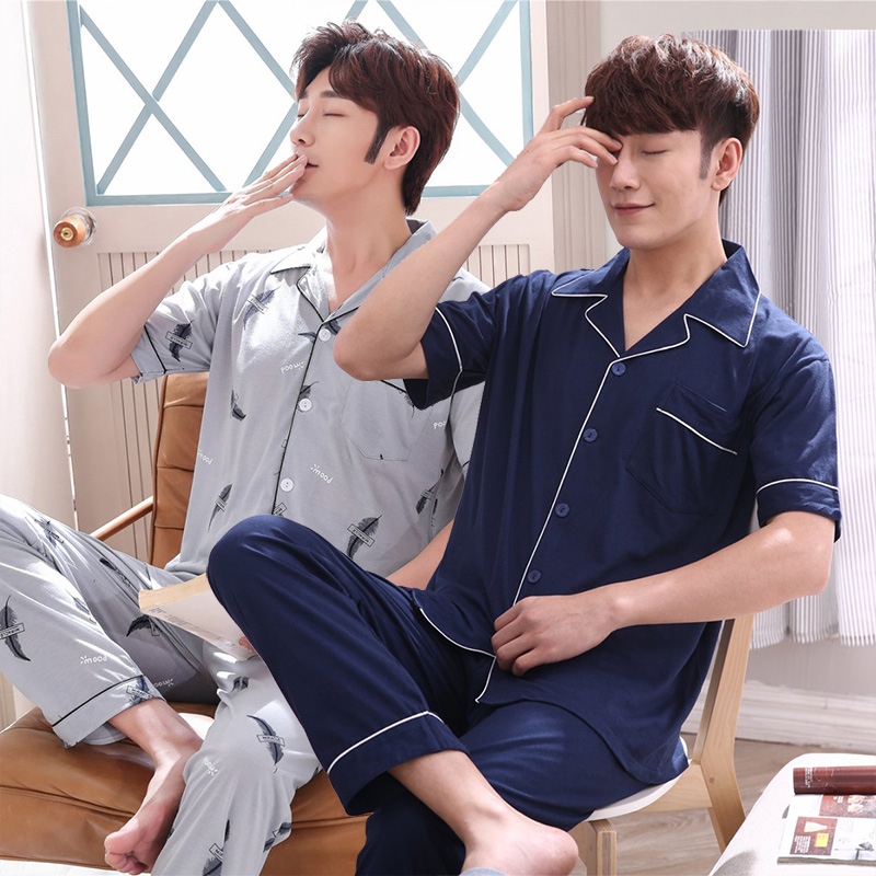 100% Cotton Print Pajama Sets For Men 2019 Hot Spring Summer Short Sleeve Pyjama Sleepwear Suit Homewear Loungewear Home Clothes