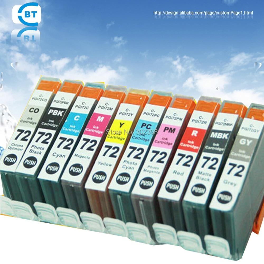 все цены на  10pcs  compatible ink cartridge PGI-72  for canon PIXMA PRO-10 inkjet printer  онлайн