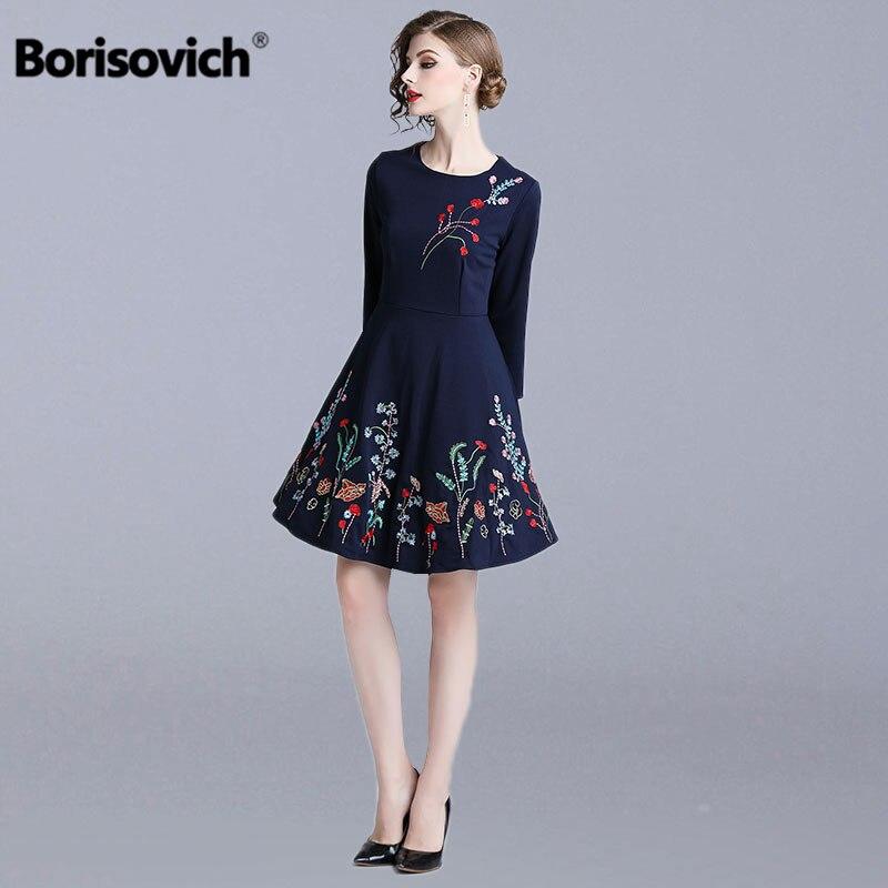 Borisovich Floral broderie dames robe de soirée nouvelle marque 2018 automne mode une ligne élégante Slim femmes robes décontractées N372
