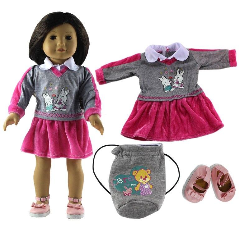 3in1のセット人形服ドレス+ピンク靴+グレーバッグファッションカジュアル着用衣装