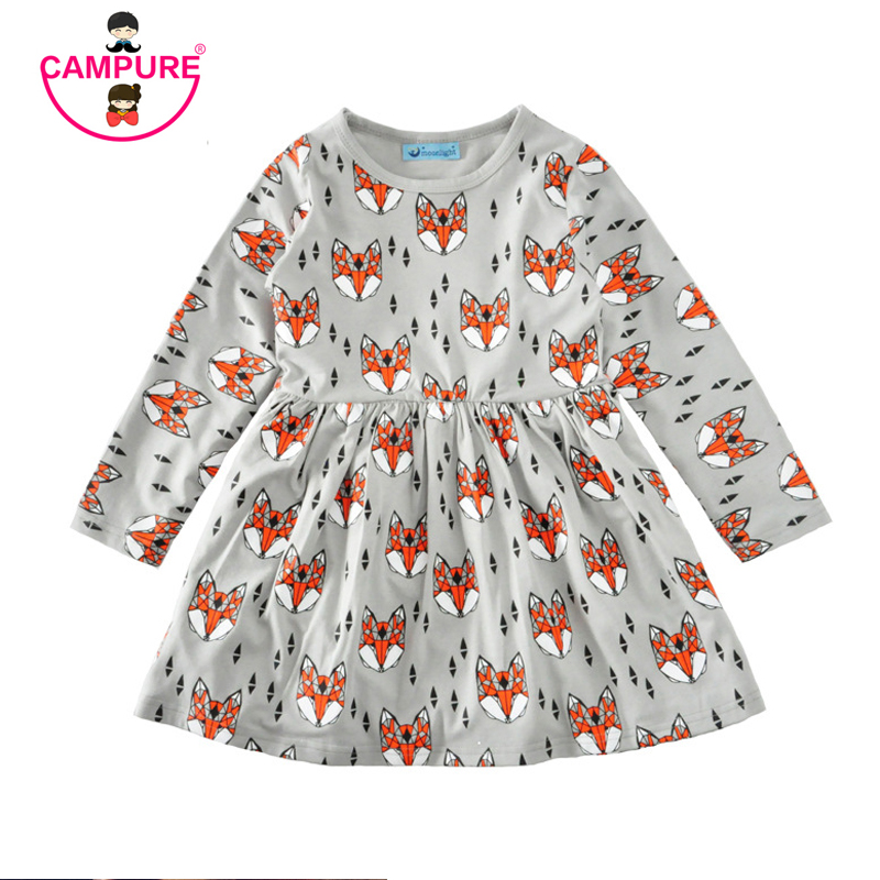New 2017 Autumn Summer Girls dress 80-120 cm Fox Cartoon Toddler Baby Girl Dress Children Clothing Children Dress Kids Clothes baby girls knitted sweater clothing dress 2017 autumn winter new long sleeve cute cartoon pattern girl dress children clothes