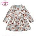New 2017 Autumn Summer Girls dress 80-120 cm Fox Cartoon Toddler Baby Girl Dress Children Clothing Children Dress Kids Clothes