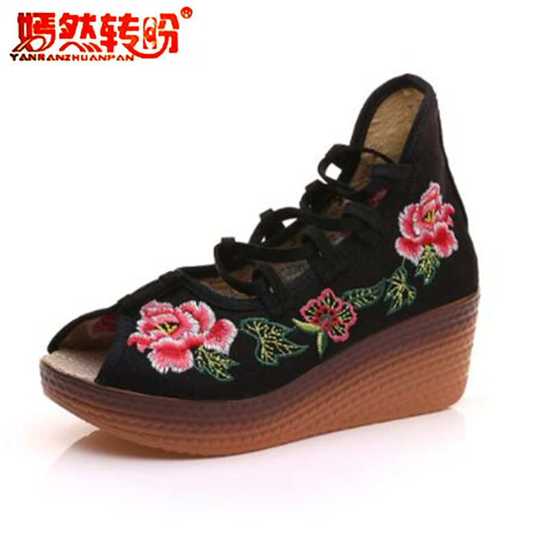 Fashion Flower Embroidery Wedges Strappy Lace Up Summer Sandals Women Platform Shoes Peep Toe Canvas Mary Janes Plus Size 34-41