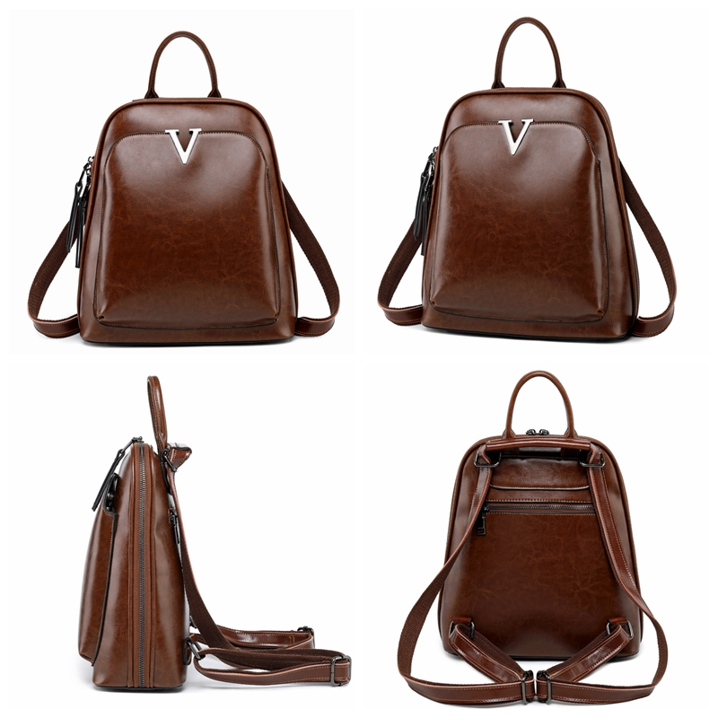 c8b2d98213ef Vintage Fashion Split Leather Backpack Female Stylish Sling School Bag  College High School Girl Small Beautiful Bagpack Preppy -in Backpacks from  Luggage ...