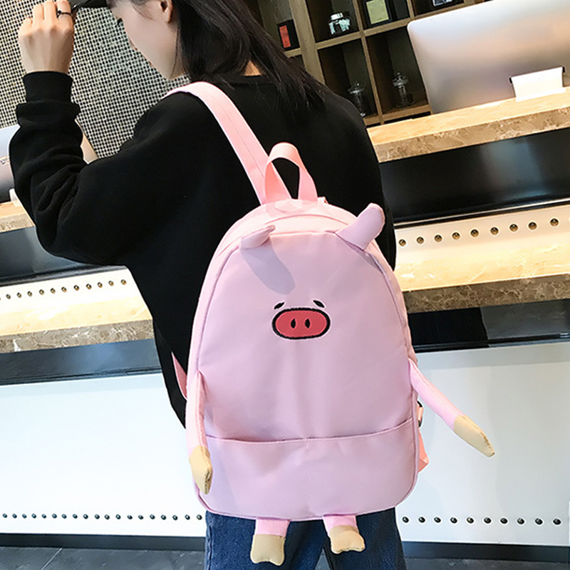 1pc Women Men Adorable Cartoon Piggy Canvas Schoolbags Casual Backpack for School New