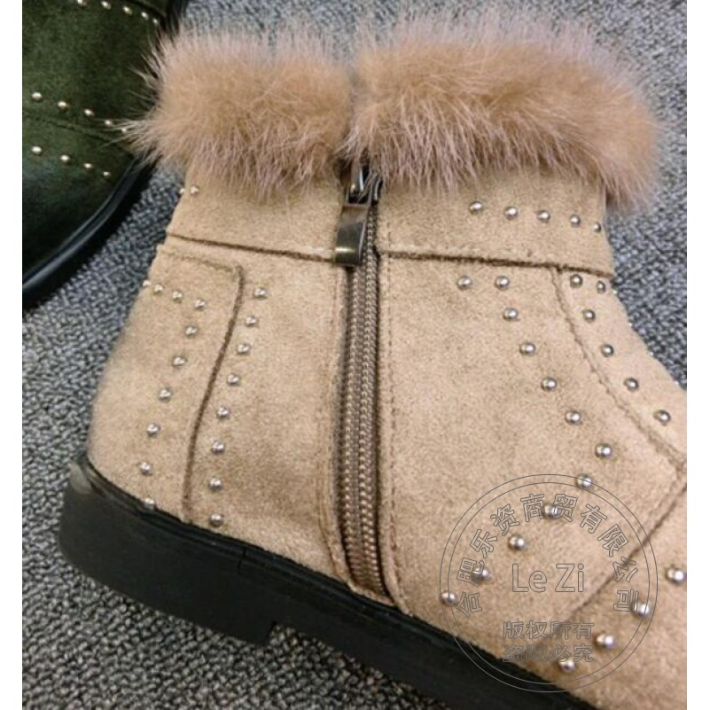 Ribbons Street Fashion Individuality Warm Brand Shoes font b Woman b font Frosted Faux Fur Show