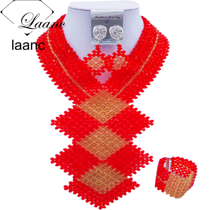 Laanc 2017 African Beads Jewelry Set Red and Gold Nigerian Wedding Necklace and Earrings Sets FKB005 bohemian beads necklace and earrings