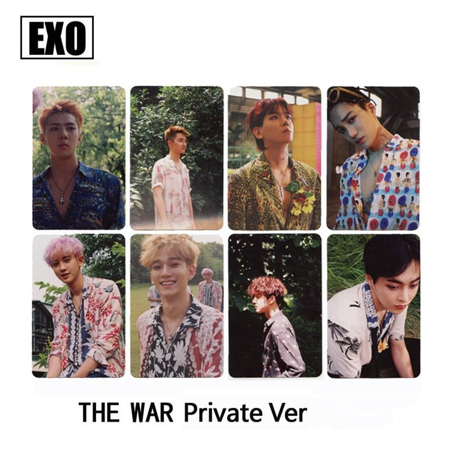 Kpop EXO The War Private Photo Paper Card Self Made Autograph Photocard Poster 8pcs