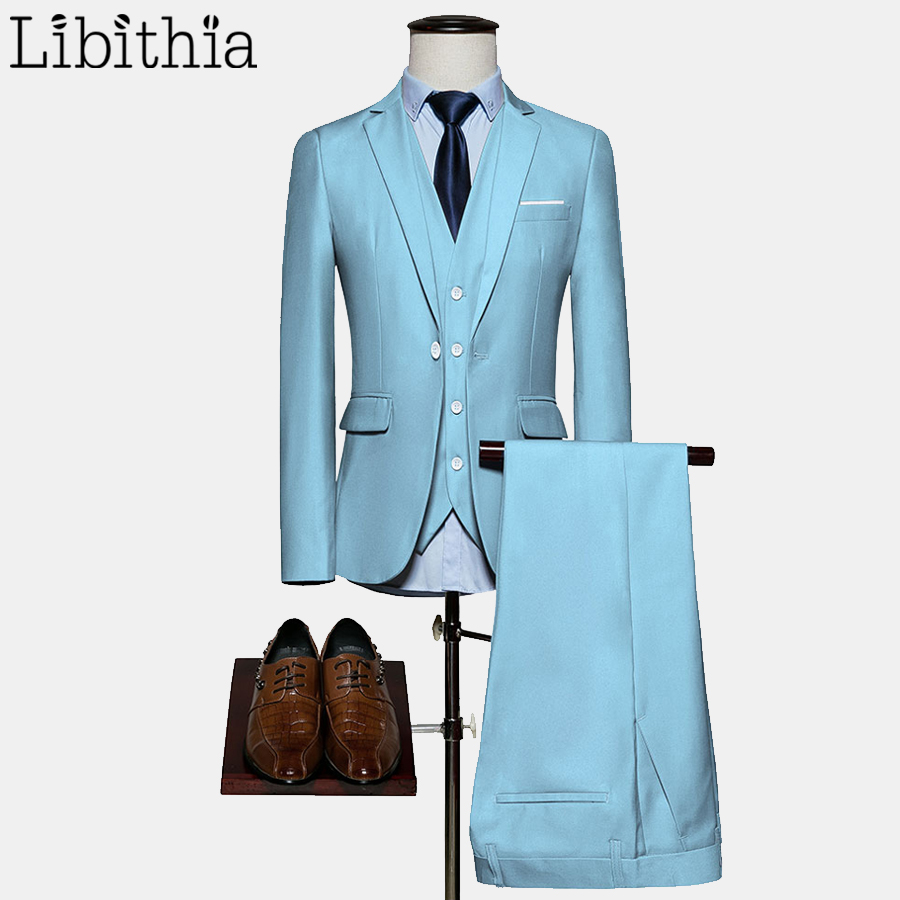 >Men 10 Colors Suits Big Size M-6XL One Button Slim Fit Jacket 3 Pieces Wedding Party Suits Sky <font><b>Blue</b></font> <font><b>Violet</b></font> Red <font><b>Black</b></font> White F058