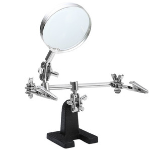 New Third Hand Soldering Iron Stand Helping Clamp Vise Clip Tool Glass Jeweler Loupe Magnifying Glass