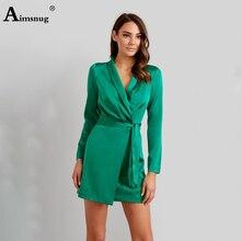 цена на Aimsnug Sexy Solid Green Cardigan Deep V Neck Lace-up Slim-fit Female The Dress Elegant Long Sleeve New Autumn Women Mini Dress