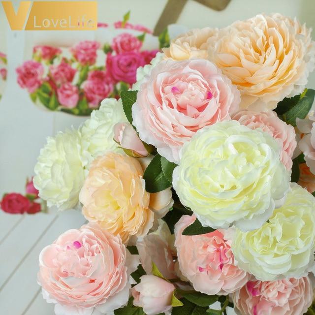 3 رؤساء بوكيه ورد صناعي الفاوانيا زهرة فرع بأوراق الحرير الزهور الفاوانيا للداخلية المنزل ديكور للطاولات Diy الزفاف الديكور