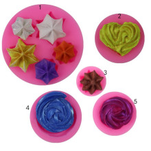 TTLIFE 1Pcs 5 Styles Heart Star Cookie Silicone Molds for Cake Decorating Fondant Mold Chocolate Soap Mould Tools