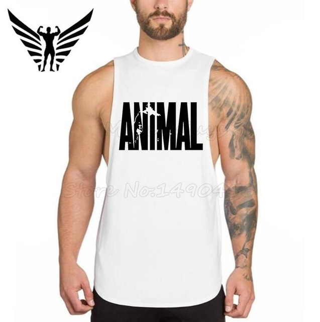 ed6fd20c Muscleguys Brand Clothing Men's Vest Animal gyms Stringer Fitness Mens  Bodybuilding Singlet Cotton Undershirts Male Tank Tops