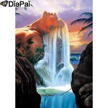DIAPAI Diamond Painting 5D DIY 100% Full Square/Round Drill Beauty waterfall Embroidery Cross Stitch 3D Decor A24680