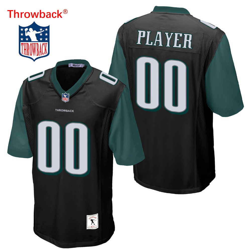 new york 59c26 d48a9 Throwback Jersey Men's Philadelphia American Football Jersey Customize Any  Number Name Color Green ...