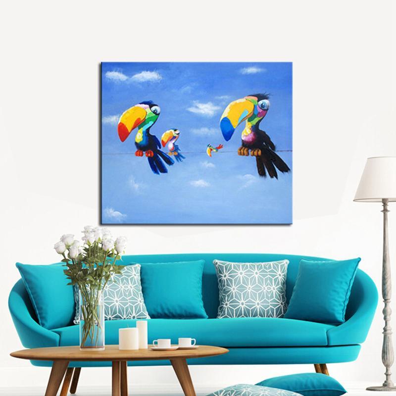 Leinwand Bilder Der Papagei Familie Tier Leinwand Malerei für ...