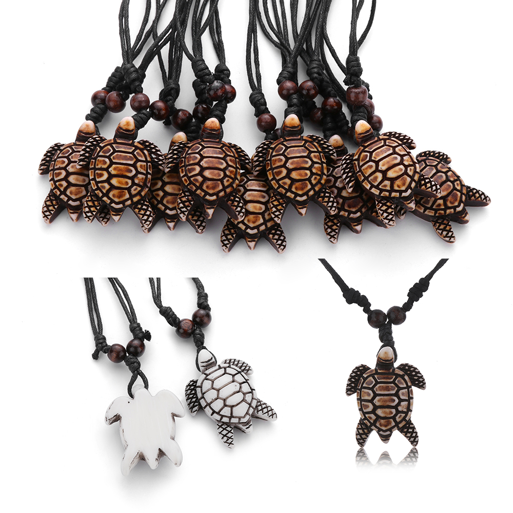 Lucky Blessing Carved Turtle Pendant Jewelry Imitation Yak Bone Necklace Amulet Costume Necklaces And Pendants