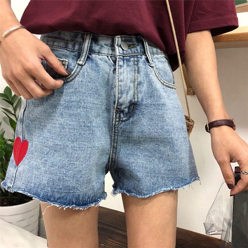 Summer Mini   Shorts   High Waisted Heart Embroidery Hot   Shorts   Casual Tassel Denim Blue   Shorts   2018 Pockets Jean   Shorts   for Women