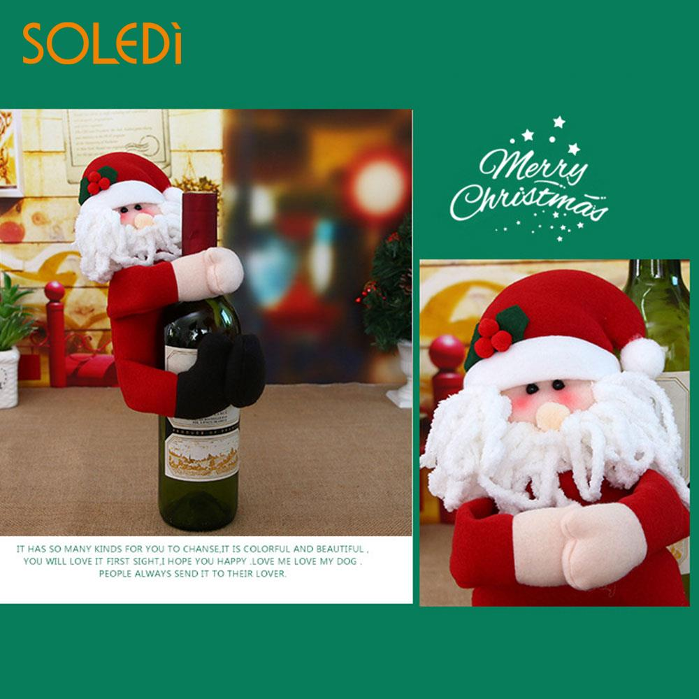 146231599b083 Hug Bottles Hold Covers Colorful Clothes 2018 Christmas Tableware Xmas  Dinner Cute Red Wine Bottle Cover Santa Claus Decor-in Pendant   Drop  Ornaments from ...