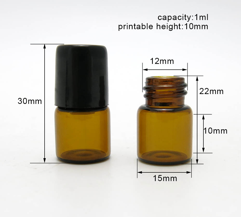 Купить с кэшбэком 100 X 1ml amber glass vials with 2 types roller ball for samples oil,liquid perfume use
