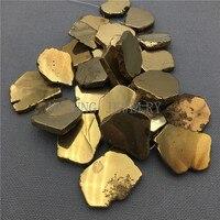 MY0112 Freeform Golden Crystal Slice Titanium Quartz Pendant Beads Flat Slap Quartz Stone Beads For Jewelry