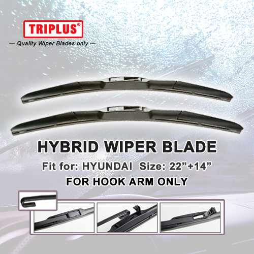 Hybrid Wiper Blade for Hyundai Getz (2002-2009) 1 set 22+14, U HOOK Windscreen Wiper J HOOK Windshield Wipers