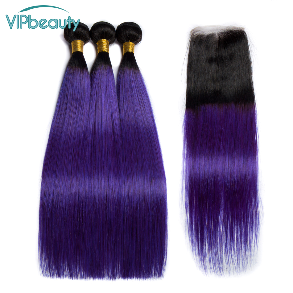 Vip Beauty Malaysian Hair Bundles with Closure Ombre Silky Straight 1b purple 10 26 Free Shipping