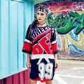 2017 Новый Летний Vestidos Долго Майка Платье Хип-Хоп Панк Письмо 99 Сексуальный Танец Одежда Майка Женщин Плюс Размер Женщины Топы Tee