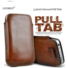 LUCKBUY Universal Pull Tab PU Leather Pouch Bags Phone Case For Leagoo Elite 5 Oukitel K6000 DOOGEE X6 Homtom 7C for honor 6X