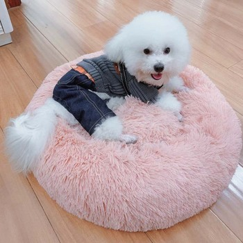 Long Plush Super Soft Pet Bed Kennel Dog Round Cat Winter Warm Sleeping Bag Puppy Cushion Mat Portable Cat Supplies 46/50/60cm