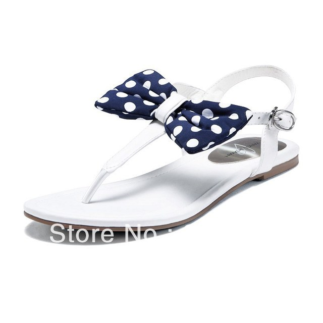 2013 New Arrival VANCL Women's Fashion Lovely Bowknot Summer Flat Shoes High Quality Sandals Creamy White/Pink FREE SHIPPING