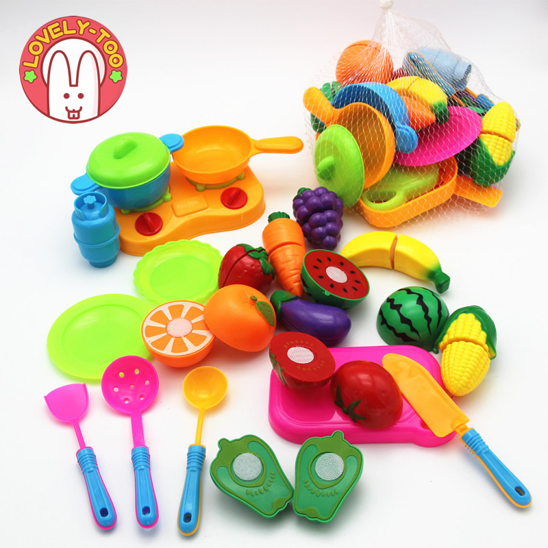 22 pcs Kid's Kitchen Cutting Toy Fruit Vegetable Food Pans Pretend Play Cooking Eating Educational Toys For Children