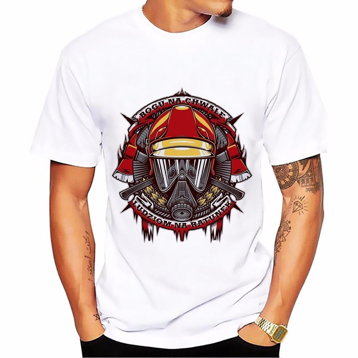 b038be43c1 Âncora gancho sinal Bombeiro cobra camisa do projeto t dos homens verão  T-shirt de manga curta T-shirt branco camiseta casual