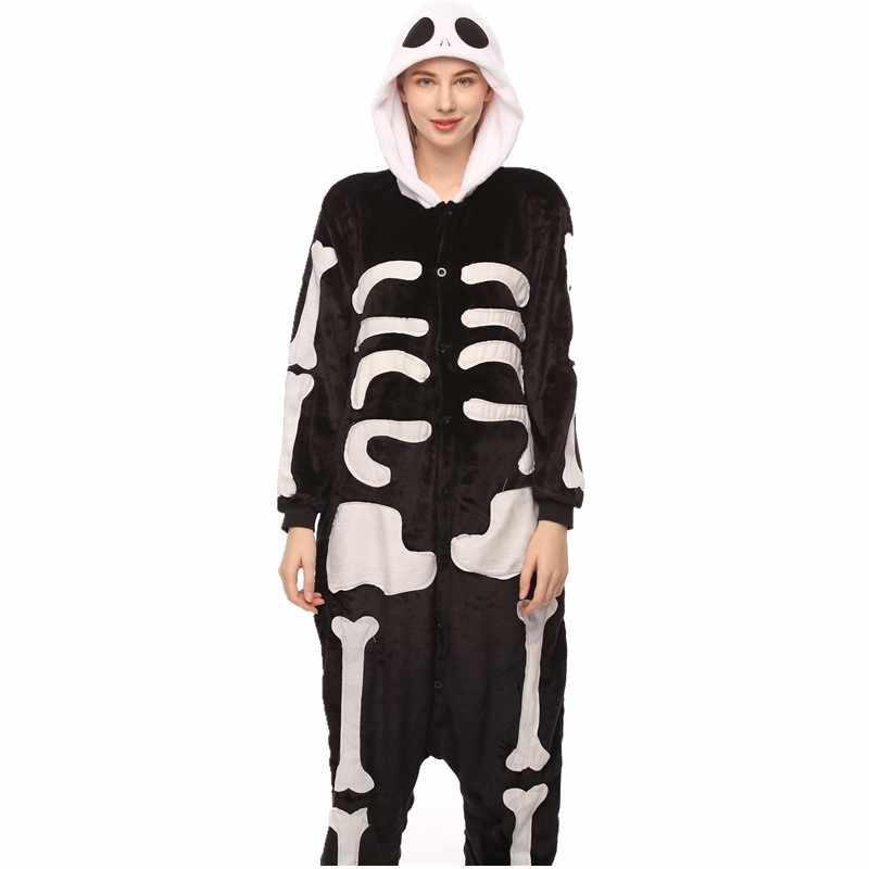 Womens Ladies Halloween Skeleton Hooded Costume Scary Zip Up All In One Jumpsuit