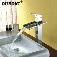 Ouboni Ванная комната Водопад кран раковины Смеситель Водопроводной воды Torneira Chrome тщеславия судно тонет краны смесители
