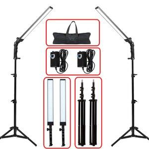 Image 1 - GSKAIWEN 사진 조명 스튜디오 LED 조명 키트 라이트 스탠드 삼각대와 조절 라이트 사진 비디오 채우기 라이트
