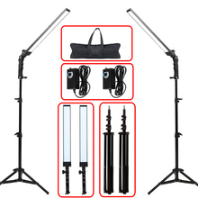 GSKAIWEN fotoğrafçılık ışık stüdyo LED aydınlatma kiti ayarlanabilir ışık ışık standı Tripod fotografik Video dolgu işığı