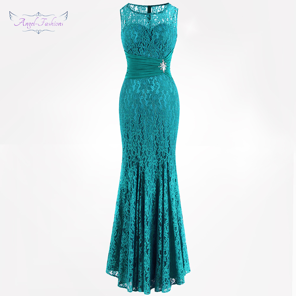 Angel fashions Women s Formal Evening Dresses Sheer Illusion Pleated Beading Flowers Lace Party Dresses Blue