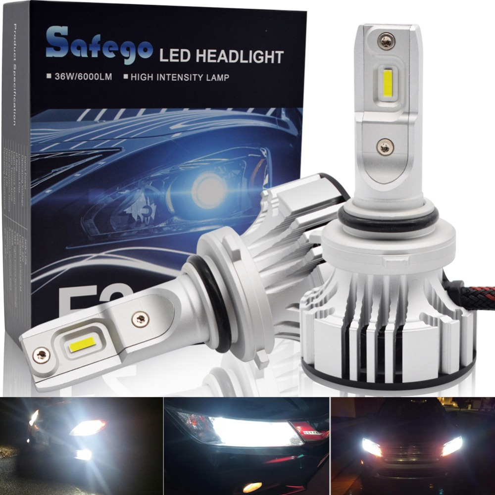 36W H11 H4 H7 Car LED Headlight Kit Safegp H8 H9 9005 9006 Bulbs 2 Super Bright LED Chips 6000Lm Auto Bulb White 6000K