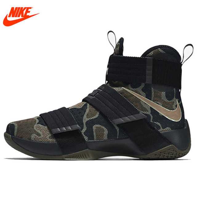 3f36ba394a9a New Arrival Authentic NIKE Original LEBRON SOLDIER 10 Men s Cool Camouflage  Basketball Shoes Sneakers