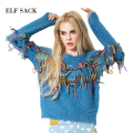 ELF SACK Women Sweater Knitted Cardigan Tassel Sweater Loose Pullover Female  Round O Neck Solid Long Sleeve Pullover Sweater