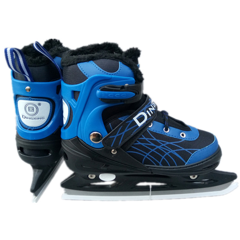1 Pair Adult Women Children Ice Blade Skates Shoes Adjustable Ice Blade Warm Thermal   Ice Hockey Skating For Girls Boys