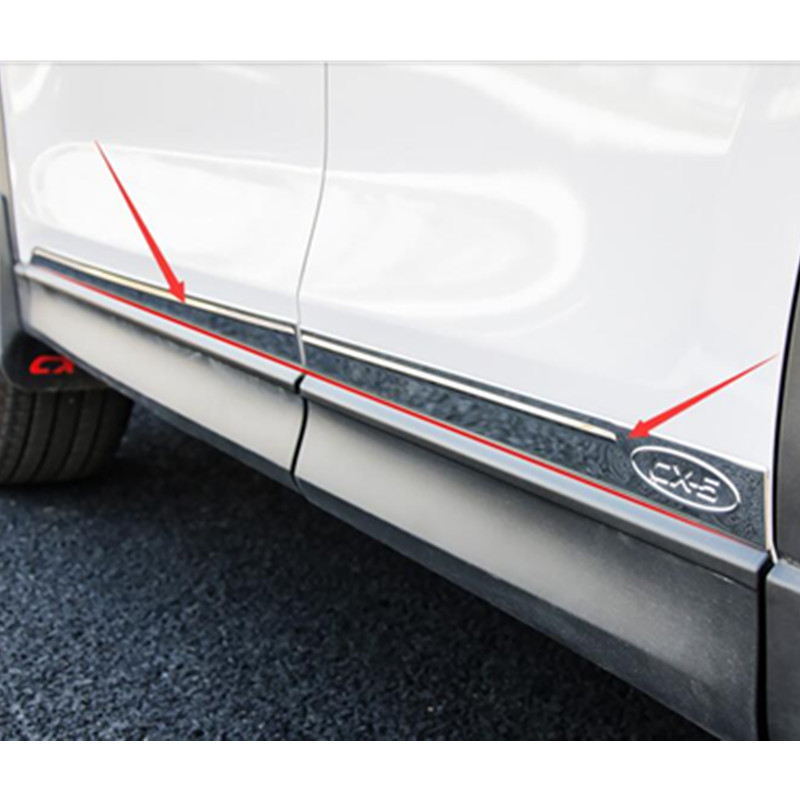 For Mazda CX-5 CX5 2017 2018 stainless steel Chrome Outer Side Door Body Moulding Streamer Strip Cover Trims Decoration 4Pcs for mazda cx 5 cx5 2017 2018 stainless steel car body scuff strip side door molding streamer cover trim car accessories 4pcs