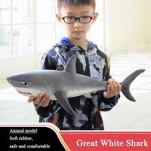 شخصيات الحركة الحياة البحرية الحيوانات لينة كبيرة القرش الأبيض القرش الكبير نموذج 55 سنتيمتر نابض بالحياة الأطفال ألعاب تعليمية للأطفال هدية F4