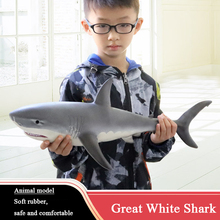 Action Figures Sea Life Animals Soft Great White Shark Big Shark Model 55cm Lifelike Children Educational Toys For Kids Gift F4